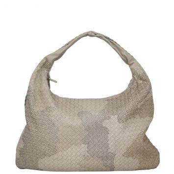 Bottega Veneta Intrecciato Embroidered Camouflage Hobo Front