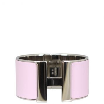 Hermes Extra Wide Clic Clac H Bracelet (pink) Front