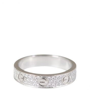 Cartier Love Diamond-Paved 18k Gold Ring Front