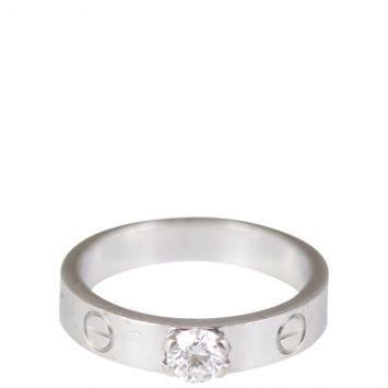 Cartier Love Diamond Solitaire 18k Gold Ring Front