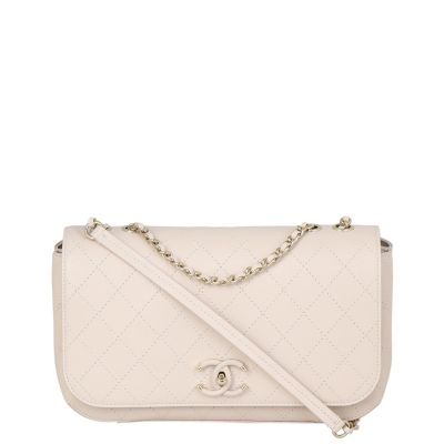 Chanel Calfskin CC Quilted Flap Bag Front