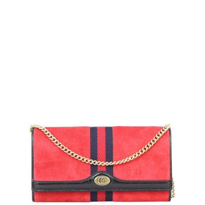 Gucci Ophidia Suede Wallet on Chain Front