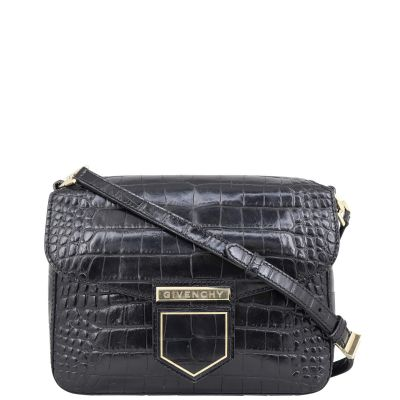 Givenchy Croc-Embossed Nobile Crossbody Front
