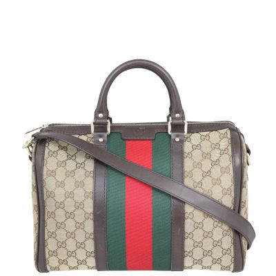 Gucci Vintage Web Original GG Boston Bag Medium Front