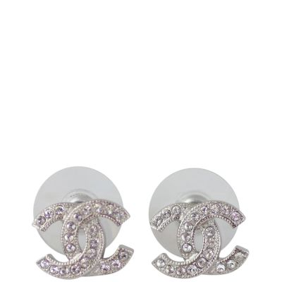 Chanel CC Crystal Stud Earrings Front
